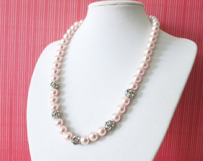 Alexis - Rosaline Pink Pearl Necklace, crystal fireballs, Pink Wedding Necklace, Bridal Brides Bridesmaid necklace,