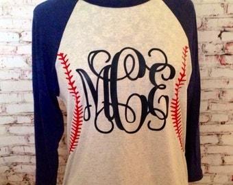 BASEBALL MOM monogram baseball stitching shirt.Raglan 3/4 sleeve shirt.Vinyl Heat Transfer. Baseball Monogram Shirt. Baseball softball