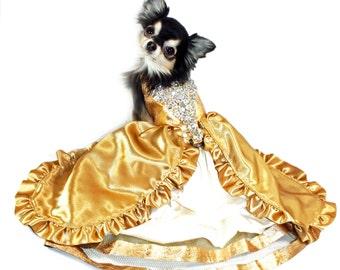 Dog Harness Dress, Gold 24 Karat with Bling, Wedding