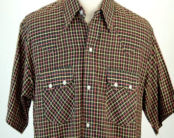 1970s western shirt DEE CEE BRAND plaid shirt cowboy shirt pearl button snaps Size L