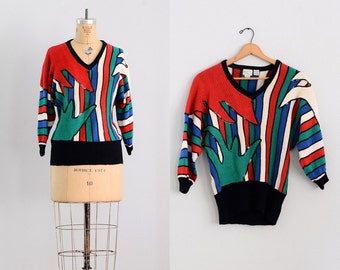 vintage sequined sweater  • cotton multicolor sweater • small
