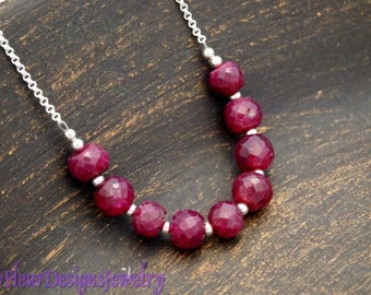 Ruby and Sterling Silver Necklace, Ruby Jewelry