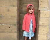 Sweater Child  With Hood Size 2 Knit 100% Wool Ready to Ship  chestnut Pink Wooden Buttons