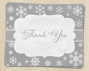 Winter Baby Shower, Birthday Thank You Cards, Gray, Snowflakes, Set of 24 Folding Notes, FREE Ship, WWLGN, Winter Wonderland Neutral