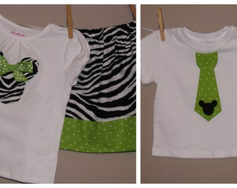 Disney Brother Sister Set - Baby Toddler Girl Boy -Skirt Set and Tie Shirt - Zebra and Lime Green Polka Dots -Perfect for Disney Trips