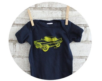 Navy Blue Car Baby bodysuit Onepiece, Screen Printed with a  Plymouth Fury, Boy, Shower Gift, Cotton Infant Creeper