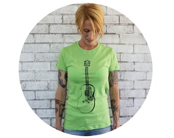 Acoustic Guitar Tshirt, Hand Printed Graphic Tee, Bright Apple Green, Short Sleeved, Gift For Musician, Womens Fitted Tshirt, Guitarist Tee