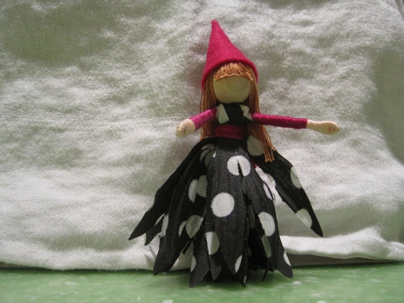 Halloween Fairy Doll - Witch, Polka dot and hot pink