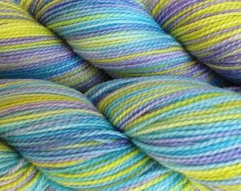 Fingering Weight Hand Painted Merino Wool Sock Yarn in Mermaid Cove