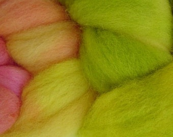 Wool Roving Hand Dyed in Mango Tango