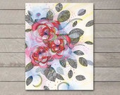 Digital Fine Art Print, Flower Plant Drawing, Copic Markers, Ink, Acrylic, Bedroom Art, Multiple Sizes Available