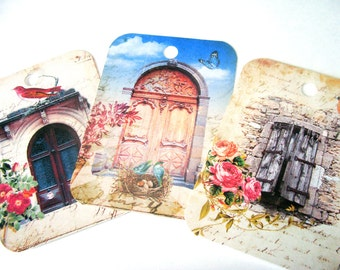 Painted Door Tags - Set of 8 - European Doors - Colorful Doors - Scenic Doors - Gift Tags - Thank yous - Door Collage Tags