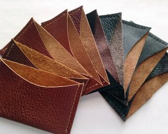 Minimalist Leather card case - genuine leather card holder - Dark Brown - Medium Brown Chestnut - Black Leather