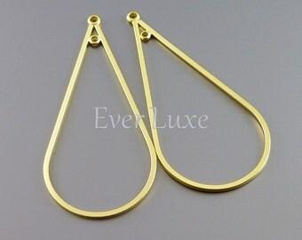 2 Long teardrop pendants, matte gold tear drop pendants, jewelry / jewellery making findings, supplies 1000-MG (matte gold, 2 pieces)