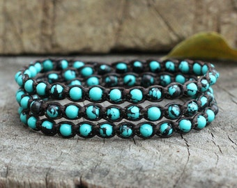 Blue Jasper Triple Wrap Bracelet