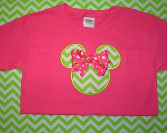 Minnie Hot Pink Lime Green Chevron tshirt ( Personalization included) kids sizes