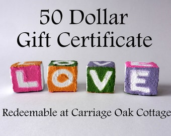 50 Dollar Gift Certificate redeemable at Carriage Oak Cottage / Home Decor / Vases / Art for home