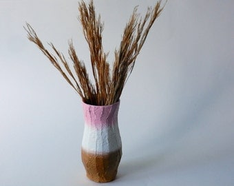 colorblock Vase /white  pink and gold / small vase /  metallic home decor / neutral home decor / color block decor