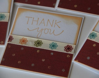 Mini Thank you Cards Set of 6, Polka Dot Thank You Notes, Thank You Card Set, Stamped Thank You Cards, Note Card Set (MTY1403)
