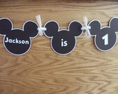 Blue Mickey Mouse Inspired High Chair Banner - I am One - 1st First Birthday Party - Custom Made to Match Your Party or Event