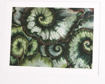 green and white art, nature watercolor art print, spiral leaves painting, home decor, 5x7