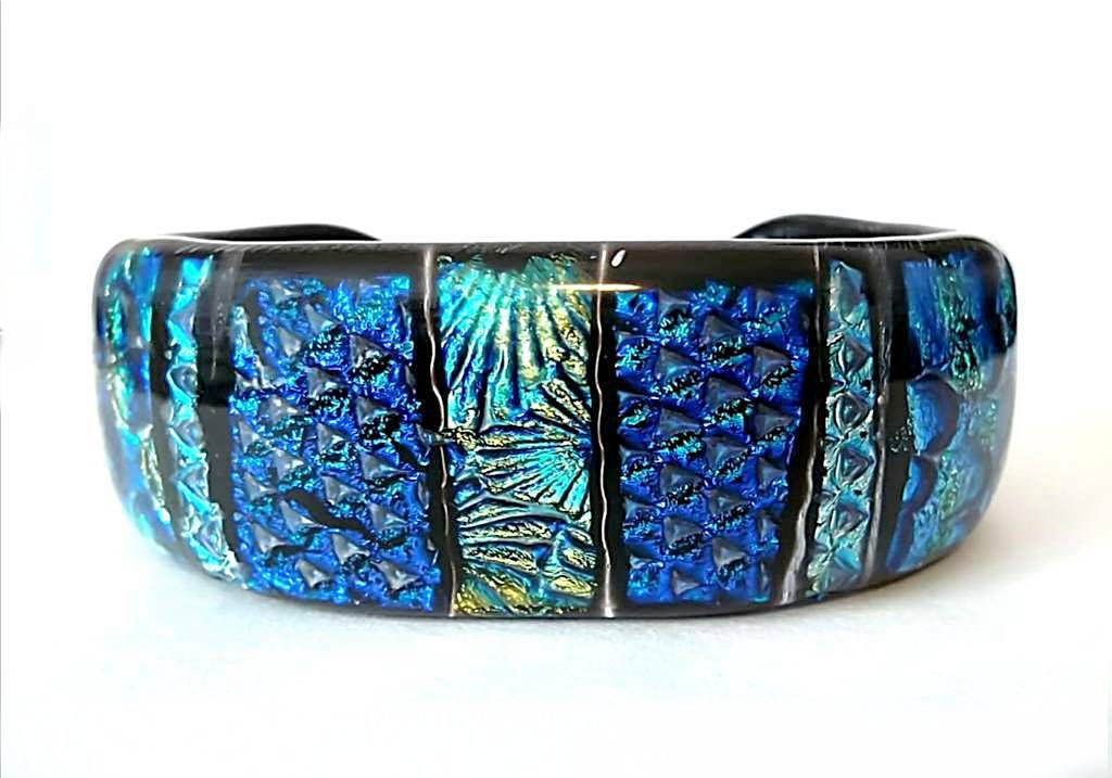 Dichroic Glass Bracelet Fused Glass Bracelet Blue And Green