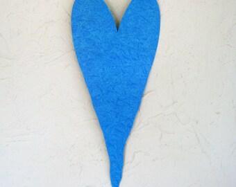 Art sculpture aqua blue heart wedding anniversary valentines birthday metal wall hanging 6 x 15