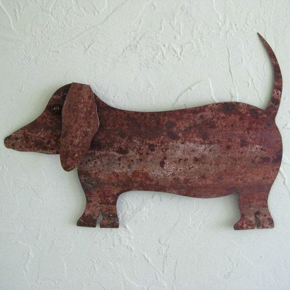 Metal wall art animal decor Dachshund upcycled metal yard art dog  10 x 15