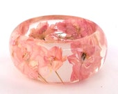 Pale Pink Botanical Resin Bangle. Chunky Bangle Bracelet.  Pressed Flower Resin Cuff.  Real Flowers - Pink Larkspur
