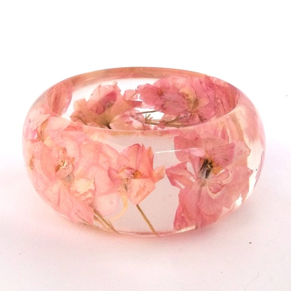 Pale Pink Botanical Resin Bangle. Chunky Bangle Bracelet.  Pressed Flower Resin Cuff.  Real Flowers - Pink Larkspur