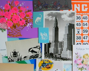 30 Piece Vintage Paper Ephemera Lot for Collage, Scrapbooking, Altered Art