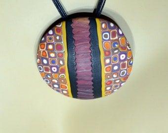 Gustav Klimt inspired round pendant necklace. Polymer clay, office jewelry, art jewelry