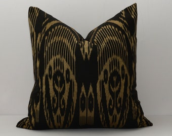 20x20, black, golden, ikat pillow, black cushion, golden cushion, golden pillow, ikat pillow cover, ikat, ikat cover, by SilkWay, cream