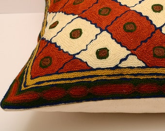16x16 silk fully hand embroidered cushion cover, great quality, orange pillow, orange cushion, sofa pillow, design pillow, embroidery