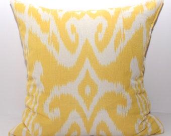 20x20, ikat pillow cover, yellow, pillow, cushion, yellow pillow cover, yellow ikat, yellow, cream