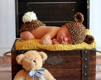 Baby Hat CROCHET PATTERN Hat and Bum Cover SET Twin Teddy