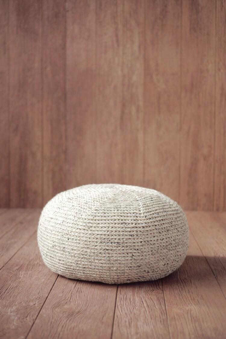 Crochet Pattern Knit Pouf Pillow Ottoman Cushion By