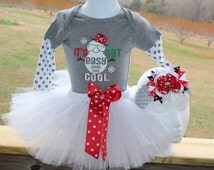Christmas It's not easy being this COOL Onesie tutu dress combo size 3-6 months First Christmas free bow included