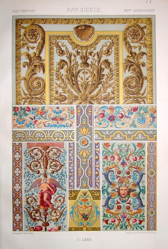 1873 17th century design ornamental decoration original