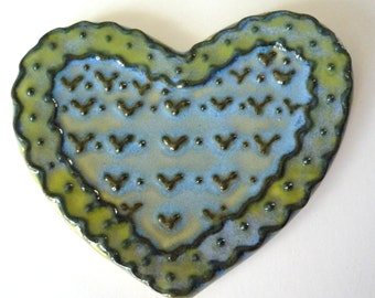 Spring Green and baby blue  Lacy Heart Teaspoon Rest