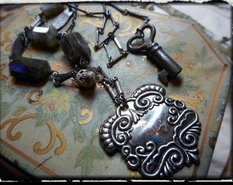 EPITAPHS. Repousse Medal Funerary Child's Casket Tag, Labradorite Headstones, Skull and Heart Skeleton Key Creep Macabre Weird necklace OOAK