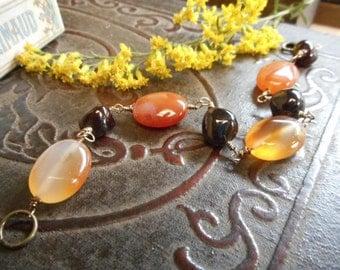 The Autumn Harvestt Bracelet. Tumbled Garnet Orange Carnelian Gemstone Bracelet. Hand wired. Chunky Stone Boho Bracelet.