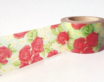 Wide washi tape 30mm  Red Rose on Green Background Chugoku Paper Tape