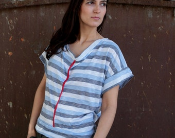 under 50,  Open back azure stripsT-shirt in white