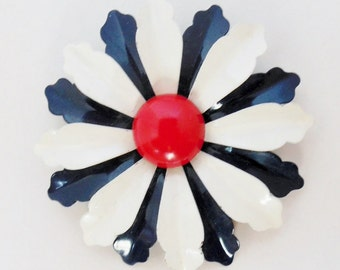 1960's Red/White/Blue Metal Floral Pin Like New