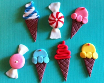 36 Fondant Candy and Ice Cream cupcake toppers.