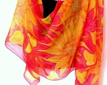 Hand Painted Silk Scarf, Sunflowers, Orange Gold Tangerine, Silk Chiffon Scarf, Gift For Her