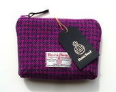 Cosmetic bag, makeup pouch in pink and green houndstooth HARRIS TWEED with waterproof lining