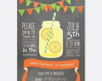 Lemonade Picnic Mason Jar Invitation, Summer Party Invitation, Outdoor Party Invitation, Picnic Party Invitation, Custom Party Invitation