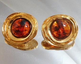 Vintage St John Earrings 22k Gold Plated and Faux Amber Tortoiseshell